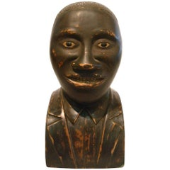 Folk Art Portrait Black Americana Carved Bust of a Young Male