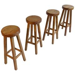 Set of Four Solid Oak Barstools in Style of Pierre Chapo, France, 1960s