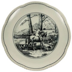 Black and Whtie English Horse or Equine Porcelain Plate or Wall Art