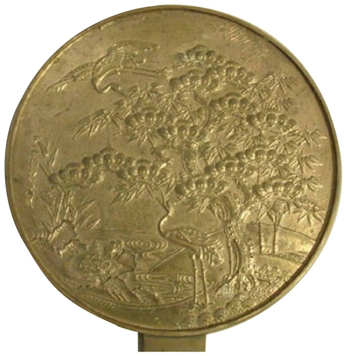 Japan Lovely Antique Hand Mirror in Gilt Bronze with Auspicious Cranes Signed