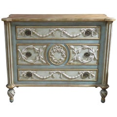French Style Cream & Turquoise Painted Commode
