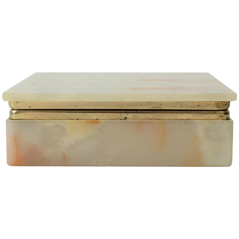 Modern Italian Onyx Marble Jewelry Box For Sale