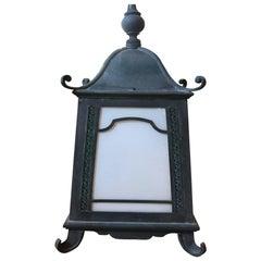 Chinoiserie Pagoda Style Hanging Copper Verdigris Lantern
