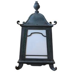 Exceptional Verdigris Copper Chinoiserie Pagoda Style Hanging Lantern