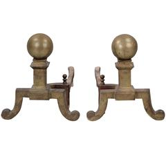Antique Pair of Small Scale Andirons