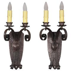 1920s Pair of Large-Scale Double Sconces