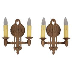 Pair of 1920s Double Sconces with Deco Arrow Motif