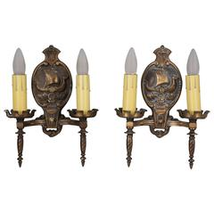 Pair of 1920s Double Sconces with Galleons