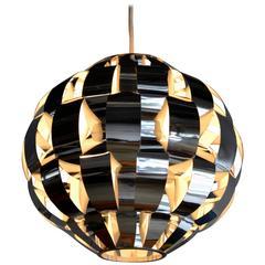 Mid Century Modern Lightolier Chrome Ribbon Pendant Light, 1970's