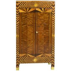 American Art Deco Cabinet with Marquetry Inlays, circa 1920s