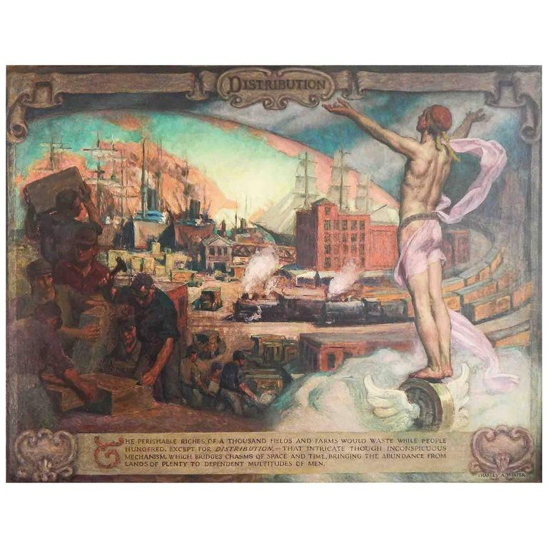 """Distribution"" Fabulous, Large Art Deco Allegorical Mural with Male Nude"