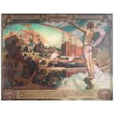 """""""Distribution"""" Fabulous, Large Art Deco Allegorical Mural with Male Nude"""