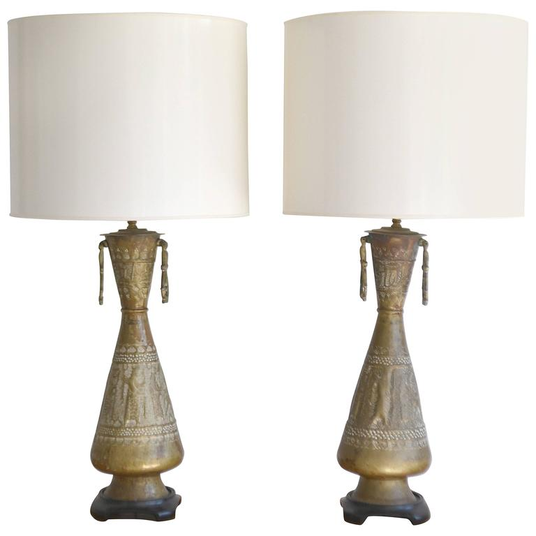 Pair of Mid-Century Brass Table Lamps For Sale