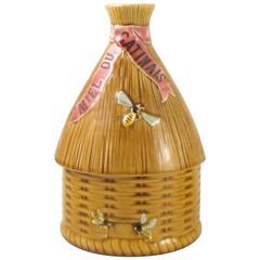 19th Century Majolica Beehive Honey Pot Luneville