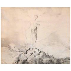 """Mercury on the Mountain,"" Ethereal, Beautiful Allegorical Drawing, 1928"