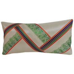 Vintage Kimono Sash Decorative Silk Embroidery Lumbar Pillow