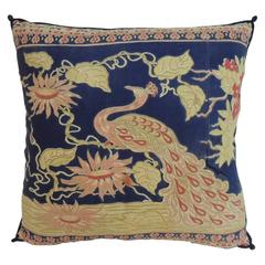19th Century Indian Hand-Blocked Peacock Decorative Pillow