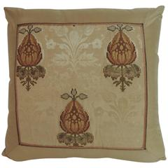 19th Century Persian Embroidered Damask Silk Decorative Pillow
