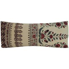 Indian Qalamkar Floral Decorative Bolster Pillow