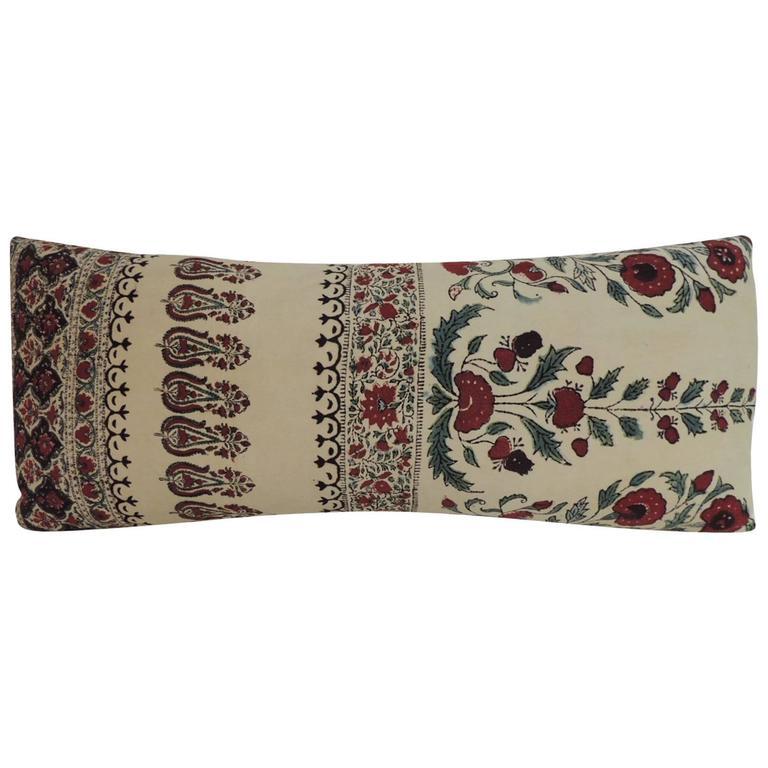 Decorative Bolster Pillow Black : Hand-Blocked Indian Qalamkar Floral Decorative Bolster Pillow at 1stdibs