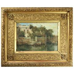 Oil on Canvas of Venice Scene by W. F. Brown, 1st Finish Frame, circa 1881