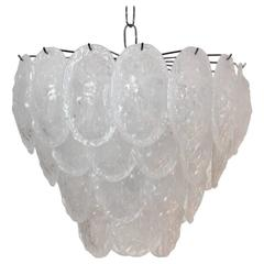 Sublime Murano Frosted Glass Leaves Chandelier by A.V. Mazzega, Italy, 1970s