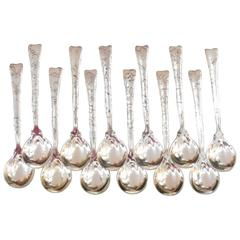 Tiffany & Company Lap over Edge Acid Etched Old Style Ice Cream Spoons