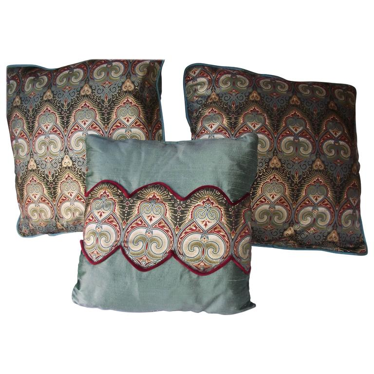 Art Deco Pillows in Jayson Yenter Designed Metallic Fabric, Throw Pillow at 1stdibs