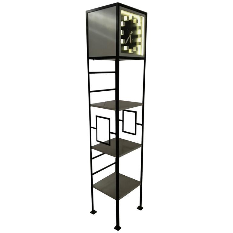 Rare Modernist Iron Weinberg Style Neon Grandfather Shelf Clock