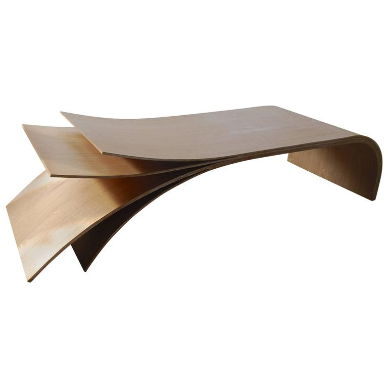 Large French Handcrafted Organic Birch And Oak And Wax Rectangular Coffee Table For Sale At 1stdibs