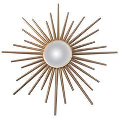 French Mid-Century Convex Chaty Vallauris Sunburst Mirror