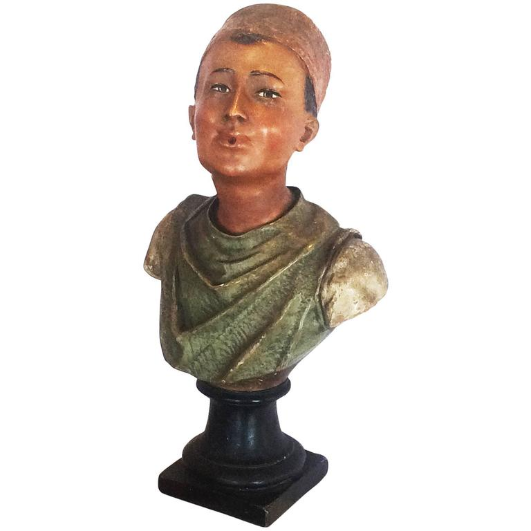 Art Deco Turkish Cigarette Advertising Statue Bust in Terracotta For Sale