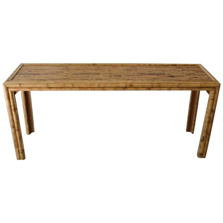 Superieur Mid Century Bamboo Parsons Style Console Table For Sale
