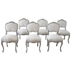 Late 19th Century Set of 6 French Louis XV Dining Chairs