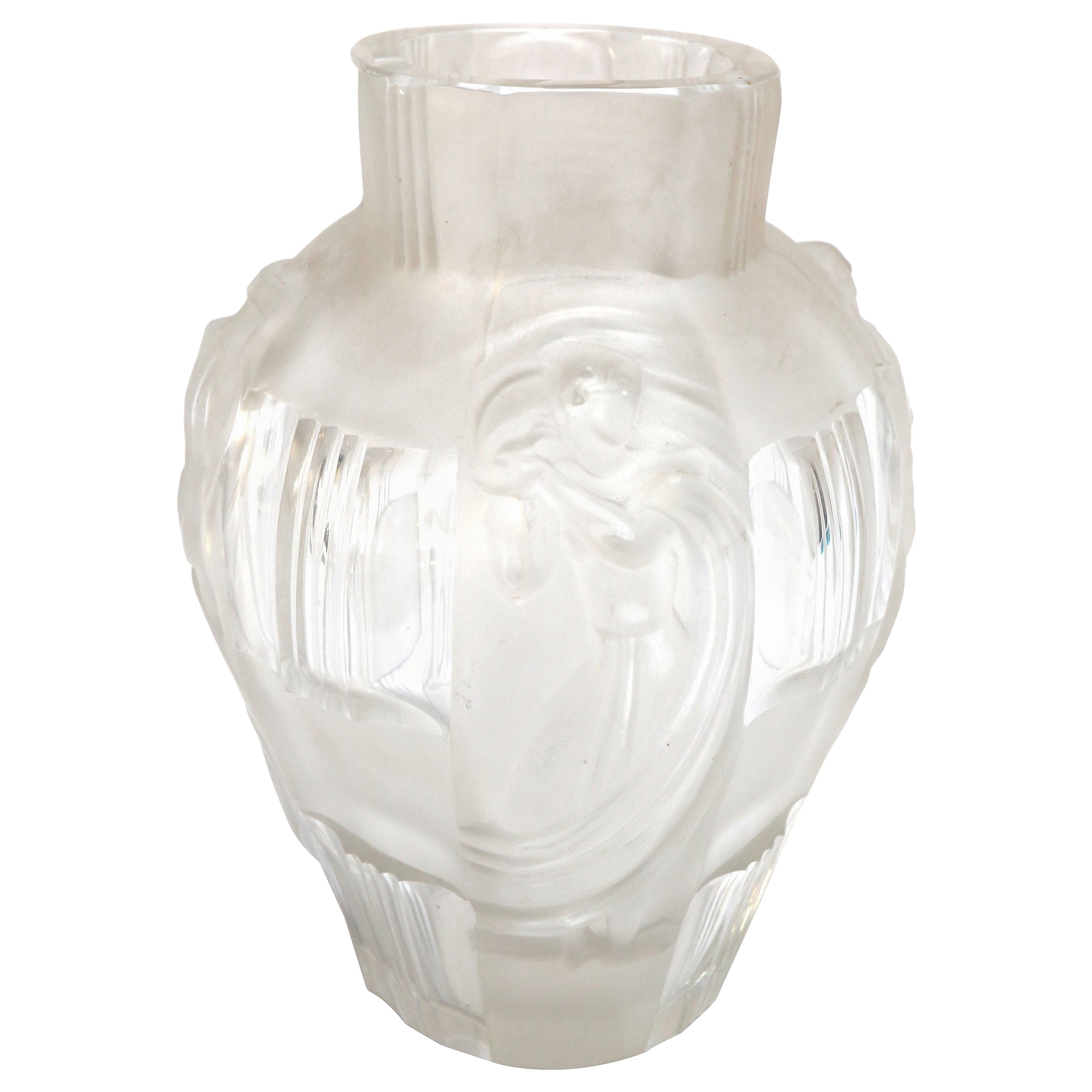 Art Deco Ingrid Glass Vase with Female Figures by Curt Schlevogt, 1930s