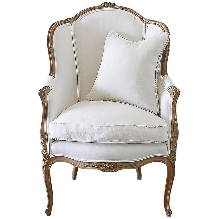 Antique French Louis XV Style Wingback Chair in White ...