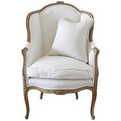 Antique French Louis XV Style Wingback Chair in White Linen