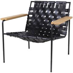 Rod and Weave Chair by Eric Trine, Black Leather and Steel Armchair