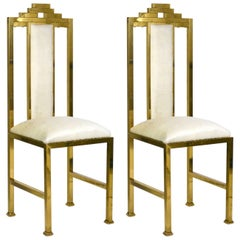 Four Italian Brass 'Skyscraper' Chairs