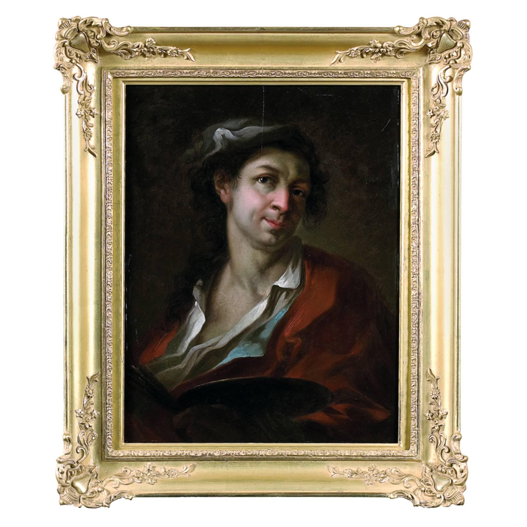 Rare 18th Italian Old Master Auto Portrait of the Artist, Rococo Style, Signed