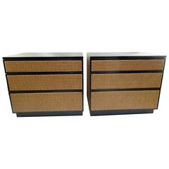 Pair of Chic 1960s Harvey Prober for Directional Black and Cane Nightstands