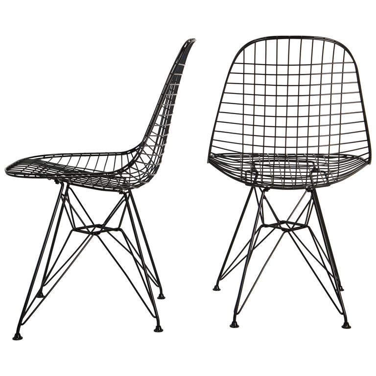 Pair Of Eames Wire Chairs DKR Eiffel Tower Base For Sale