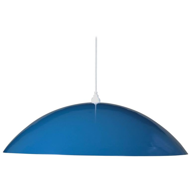 Huge Industrial Dome Pendant Lamp, Sea Blue, Aluminium Shade, Made to Order