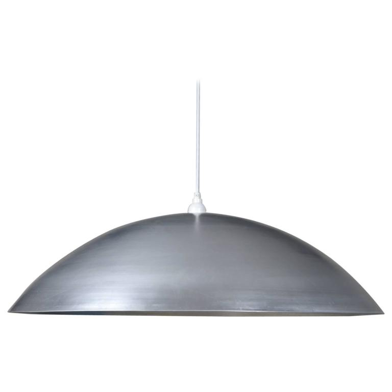 Huge Industrial Dome Pendant Lamp, Silver, Waxed Aluminium Shade, Made to Order