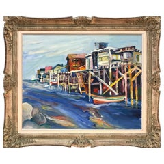 "Jane Bradford ""View of Cannery Row"" Oil Painting, Signed"