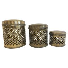 1970s Sarreid Pierced Brass Lidded Canisters, Set of Three