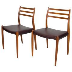 Pair Of Danish Teak Dining Chairs Model #78 N Ø Møller For J L Møller