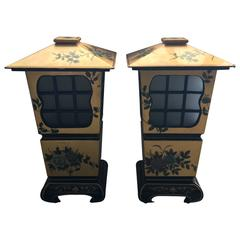 1950's Chinoiserie Large Black and Gold Lacquered Lantern Lamps, Pair