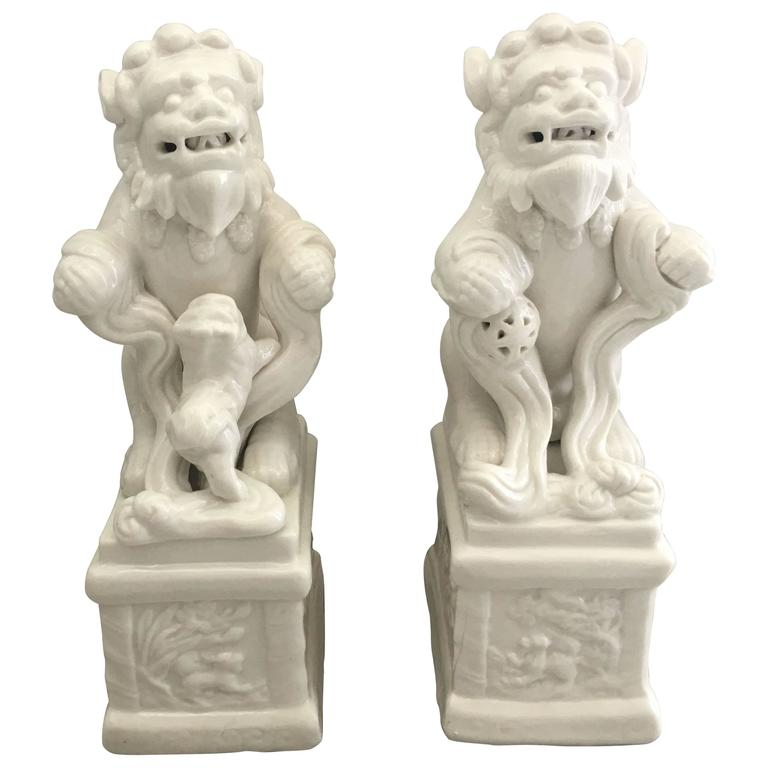 1960s Blanc de Chine Foo Dog Statues, Pair For Sale at 1stdibs