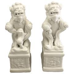 1960s Blanc de Chine Foo Dog Statues, Pair